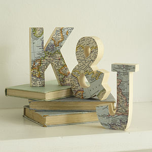 Set Of Three Map Wedding Anniversary Wooden Letters - gifts for her