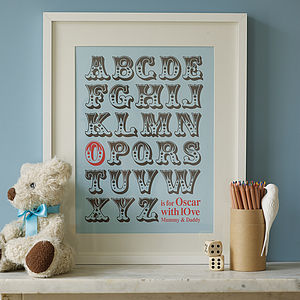Personalised Alphabet Art Print - baby child picks