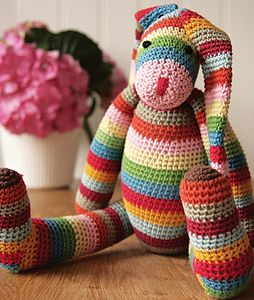 Stripy Crocheted Bunny - toys & games for children