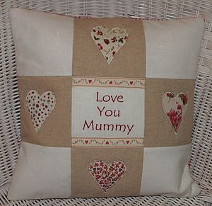 'Love You' Cushion - embroidered & beaded cushions
