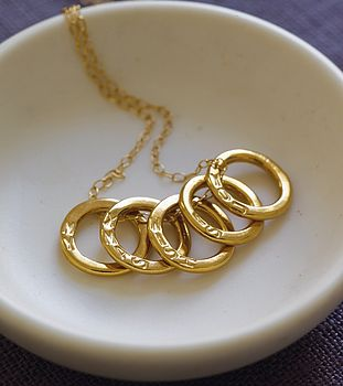 Personalised Five Gold Rings Necklace