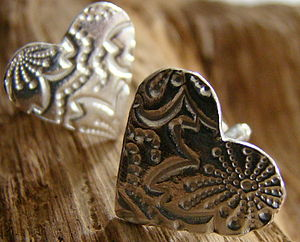 Patterned Heart Cuff Links