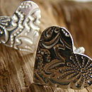 Paisley Patterned Heart Cuff Links