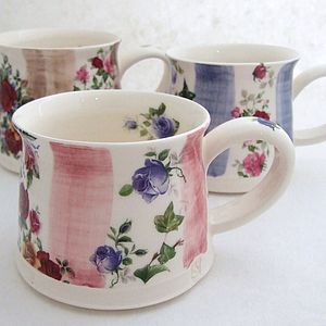 Handmade Stripes And Roses Mug