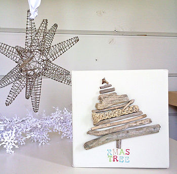 Original Driftwood Christmas Tree, Word Canvas