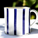 Blue Porcelain Stripe Coffee Cup