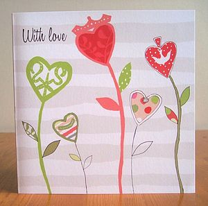 Heart Flowers Greetings Card