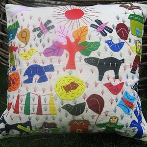 Folksy Village Scene Cushion - bedroom