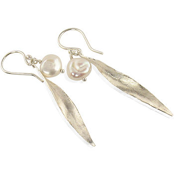 Handmade Keishi Pearl Silver Leaf Earrings