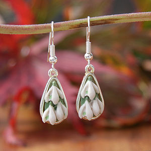 Silver Plated Snowdrops Earrings - women's jewellery