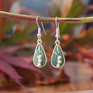 Lily Of The Valley Silver Plated Earrings - earrings