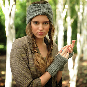 Misty Turban and Wrist Warmers Knitting Kit - knitting kits