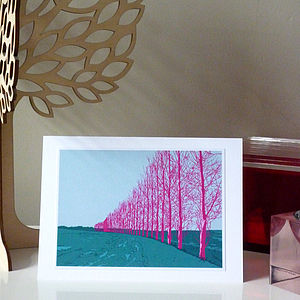 Pink Trees At Dusk Greeting Card