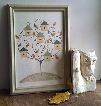 Bird House Tree Print Unframed