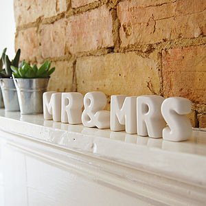 'Mr & Mrs' Ceramic Letters - children's room