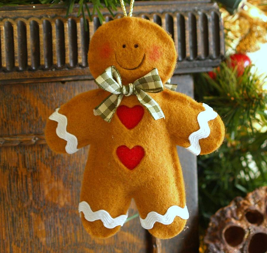 Handmade Felt Gingerbread Man Christmas Decoration By Thoughts Of You