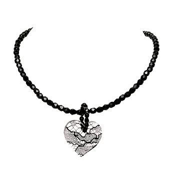 Medium heart on beads - Black