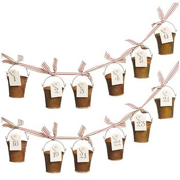 Advent Calendar Buckets on Ribbon