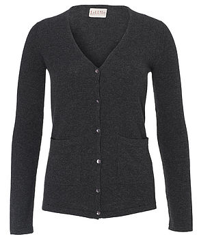 Fitted Cashmere Cardigan (charcoal grey)