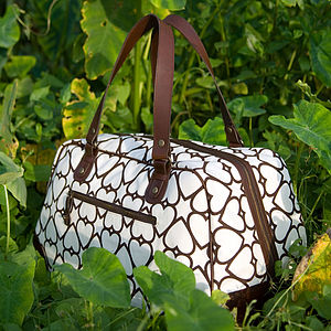Florence: Printed Canvas & Leather Weekender - bags & purses