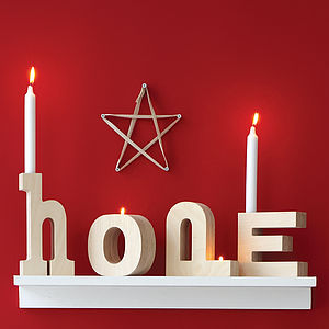 Wooden Alphabet Candlestick - christmas lighting