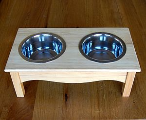 Raised Wooden Dog Feeder - Wood Finish - food, feeding & treats