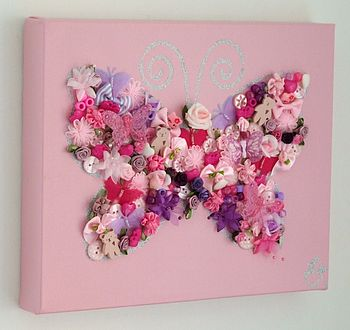 Floral Encrusted Butterfly Canvas