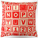 ABC Retro Print Organic Cushion