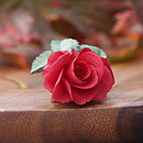 Deep Red Rose Brooch