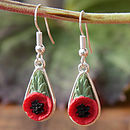 Siver poppy drop earring: silver plated