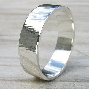 Hammered Silver Ring With Tree Bark Finish - rings