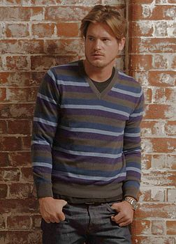 Mens's Cashmere Stripe V Neck Jumper
