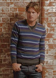 Mens's Cashmere Stripe V Neck Jumper  - men's fashion