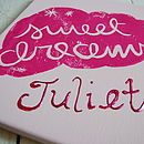 Personalised 'Sweet Dreams' Canvas shown in pink