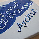 Personalised 'Sweet Dreams' Canvas shown in blue