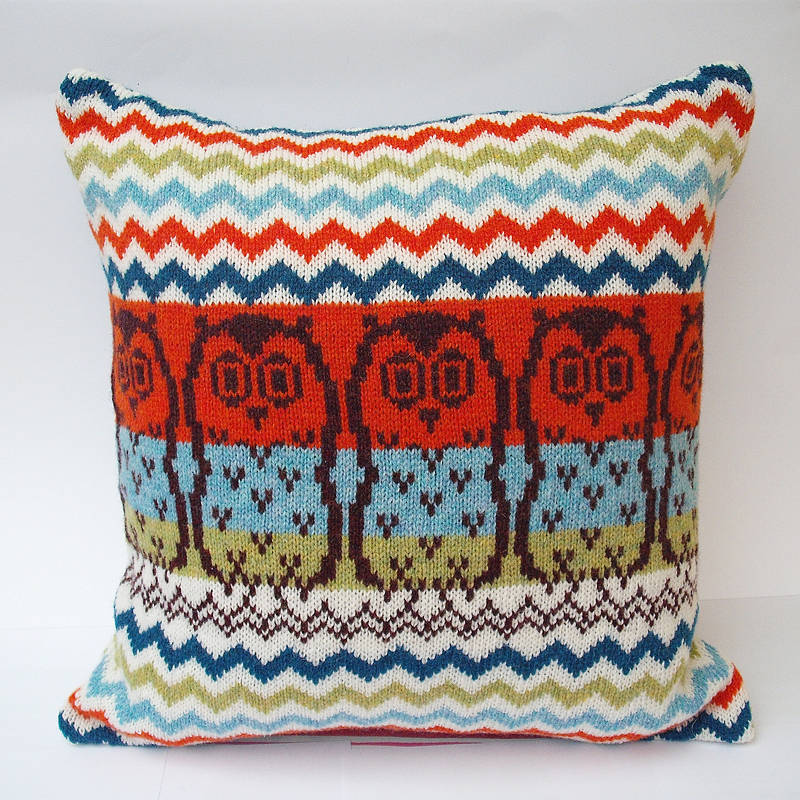 Owl Cushion Knitting Pattern : chevron owl knitted cushion by clova knits notonthehighstreet.com