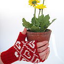 Heart Fairisle Knitted Hand Warmers