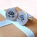 Space invader cufflinks