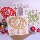 Set Of Eight Hand Printed Christmas Cards