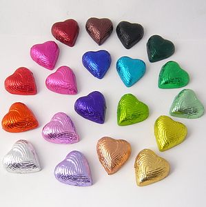 Set Of Ten Handmade Foiled Chocolate Hearts - novelty chocolates