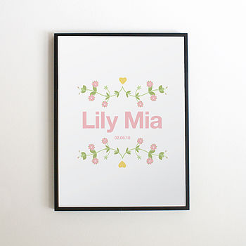 Personalised Folky Flower Print