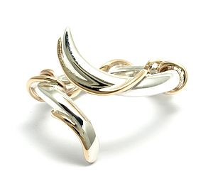 Sterling Silver And 9ct Gold Wrapped Lightning Ring