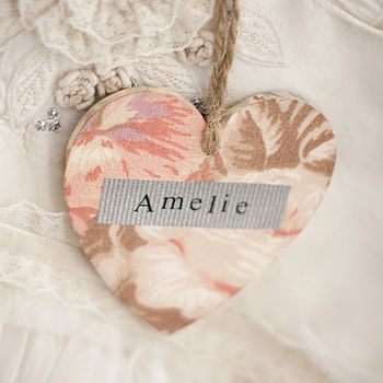 Pink Rose Personalised Wooden Heart