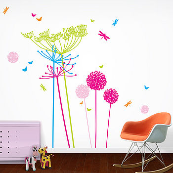 Fluoro Dandelions Wall Stickers