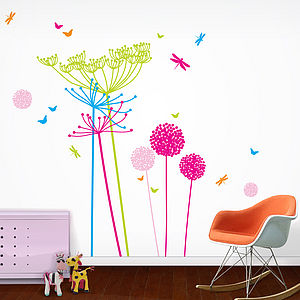 Fluoro Dandelion And Cowparsley Wall Stickers - painting & decorating