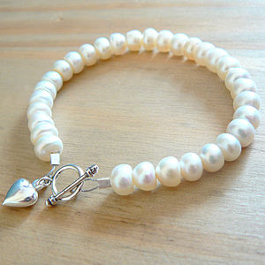 Grade A Button Freshwater Pearl with Silver Heart Charm Bracelet - women's jewellery