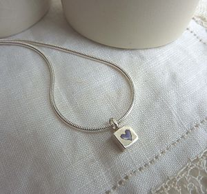 Silver Tiny Square And Heart Necklace