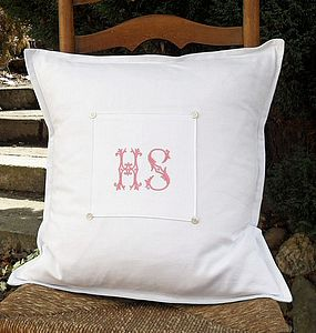 Monogrammed Vintage French Linen Cushion