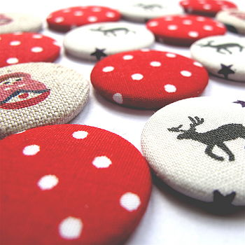 Christmas Festive Fabric Magnets x6