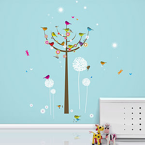 Birdie Tree Giant Wall Stickers - decorative accessories